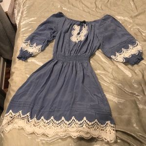 Powder blue silk and lace peasant dress
